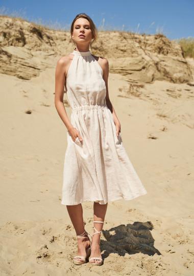Linen high neck dress Estelle