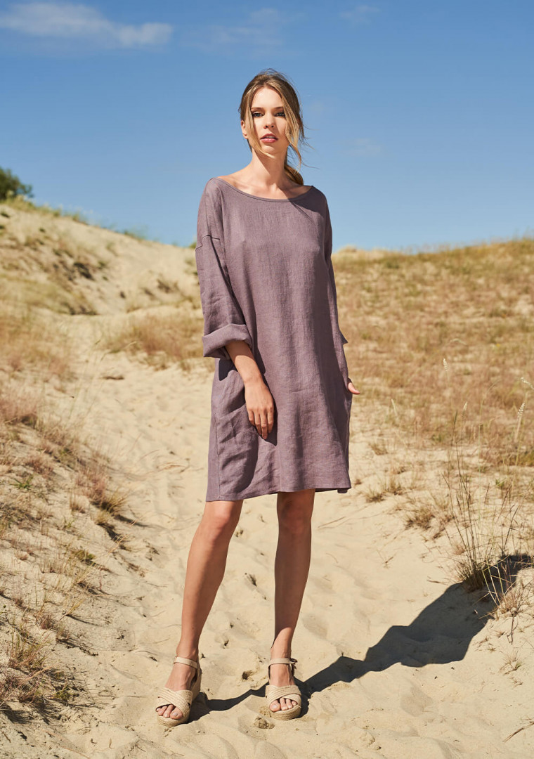 Linen tunic dress with long sleeves Sophie 1