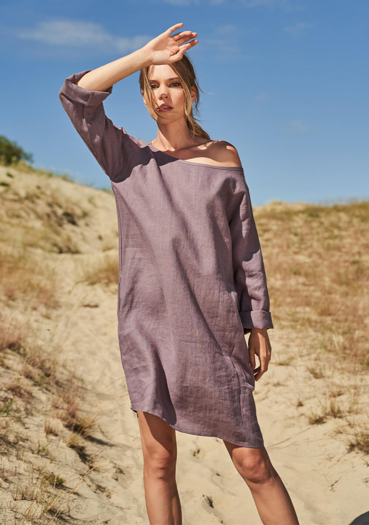 Linen tunic dress with long sleeves Sophie 2