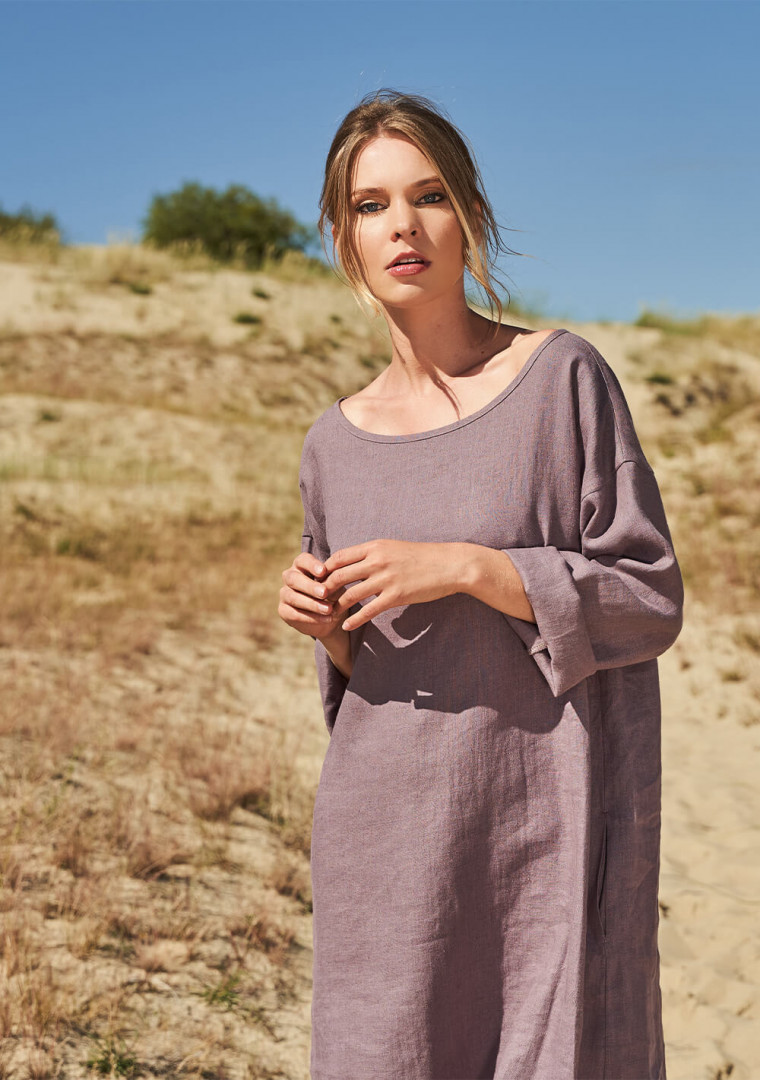 Linen tunic dress with long sleeves Sophie 3