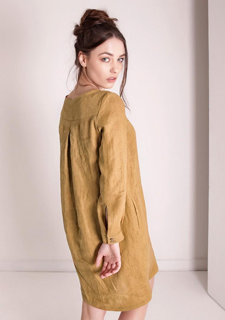 Linen shirt dress Daisy in mustard 1