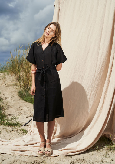 Linen button front dress with kimono sleeves Harper