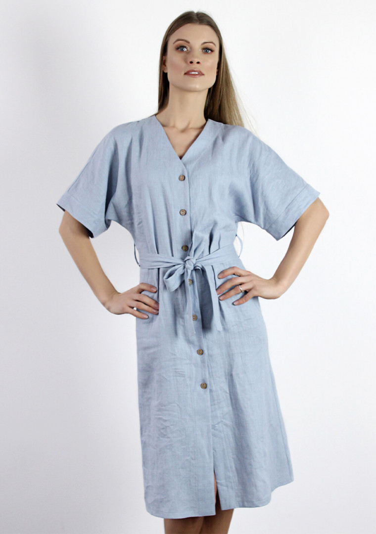 Linen button front dress with kimono sleeves Harper 6