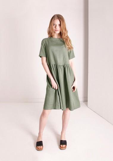 Linen dress Darling in moss green