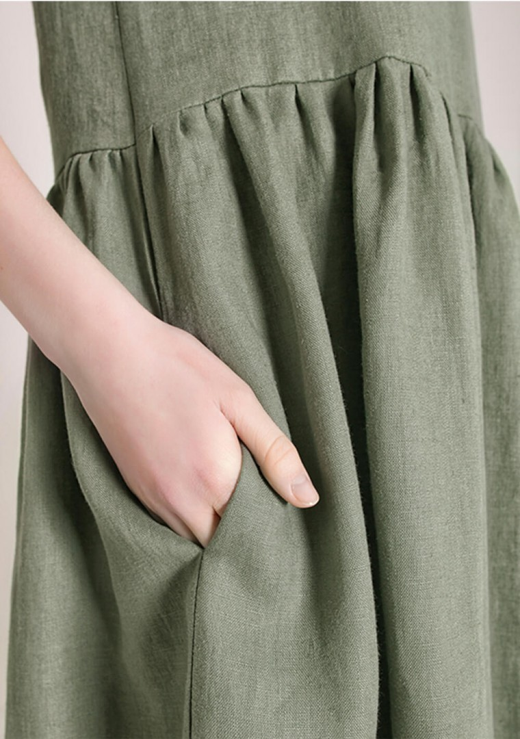 Linen dress Darling in moss green 4