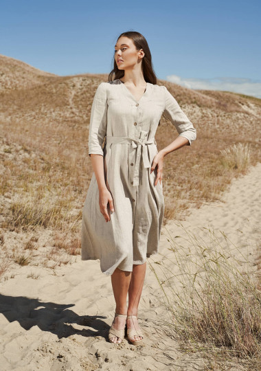 Button front linen dress Santana