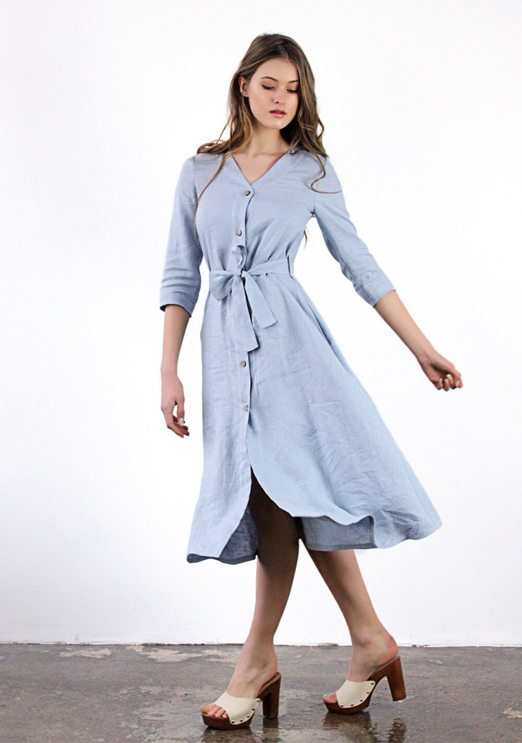 Button front linen dress Santana 6