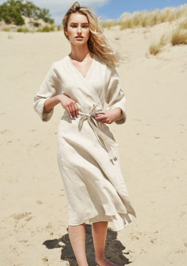 Flowy linen wrap dress Thalia