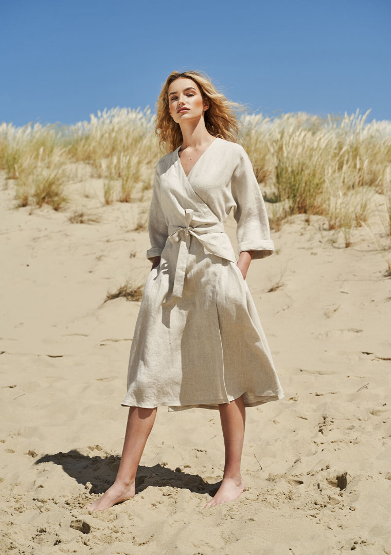 Flowy linen wrap dress Thalia 1