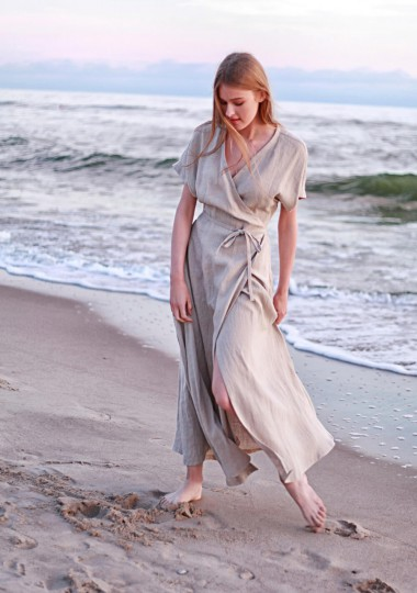 Linen maxi wrap dress Delilah