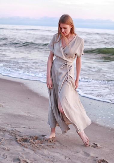 Linen maxi wrap dress Delilah