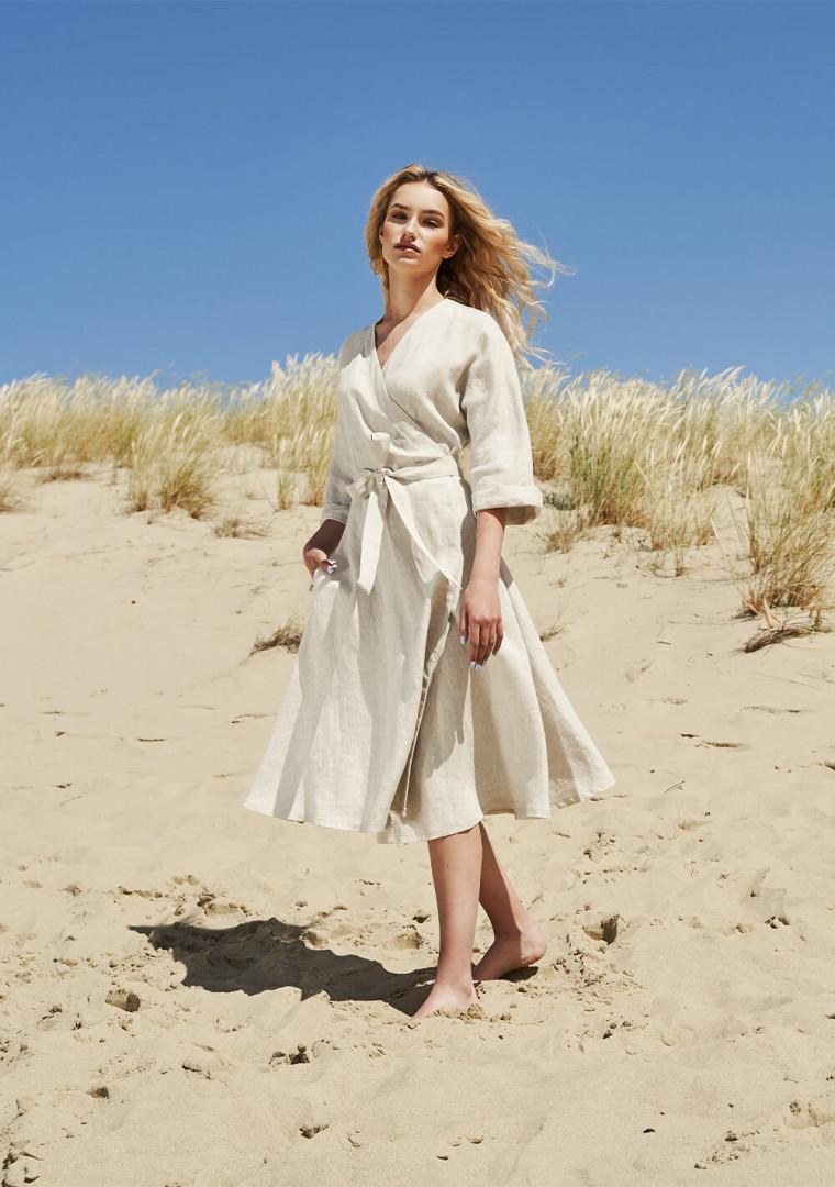 Flowy linen wrap dress Thalia 5