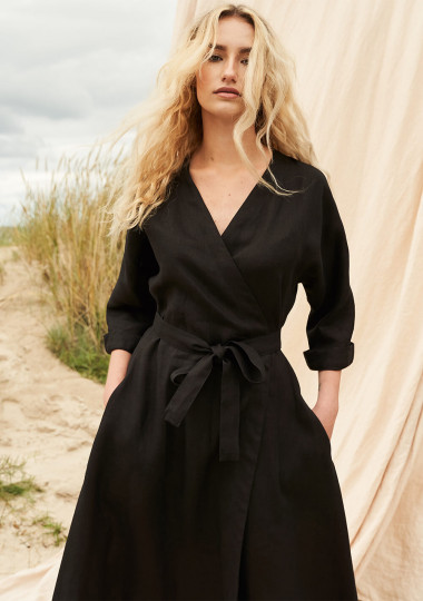 Long linen wrap dress Thalia