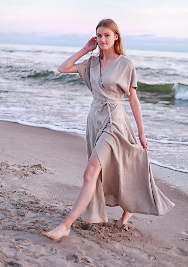 Linen maxi wrap dress Delilah 4