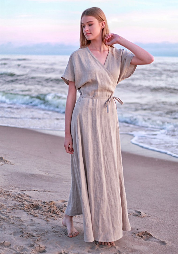 Linen maxi wrap dress Delilah 3