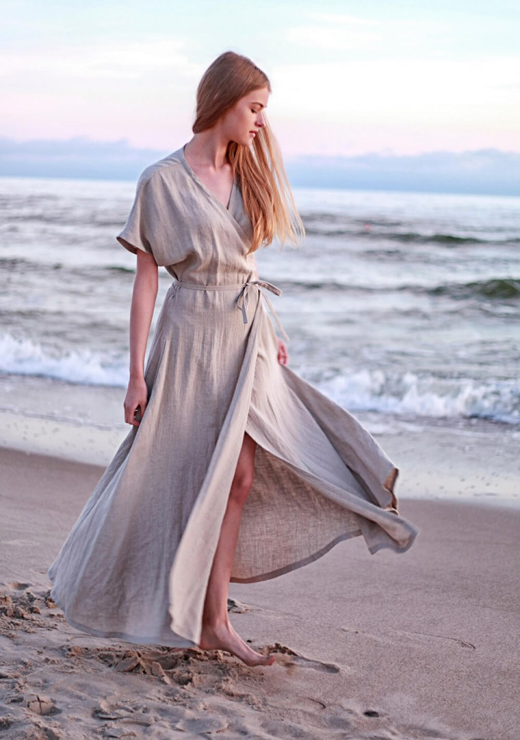 Linen maxi wrap dress Delilah 1