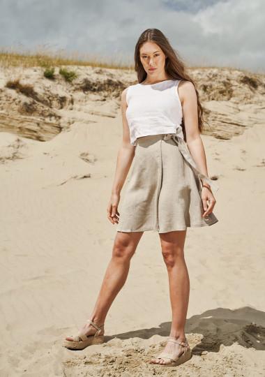 Wrap linen mini skirt Candice