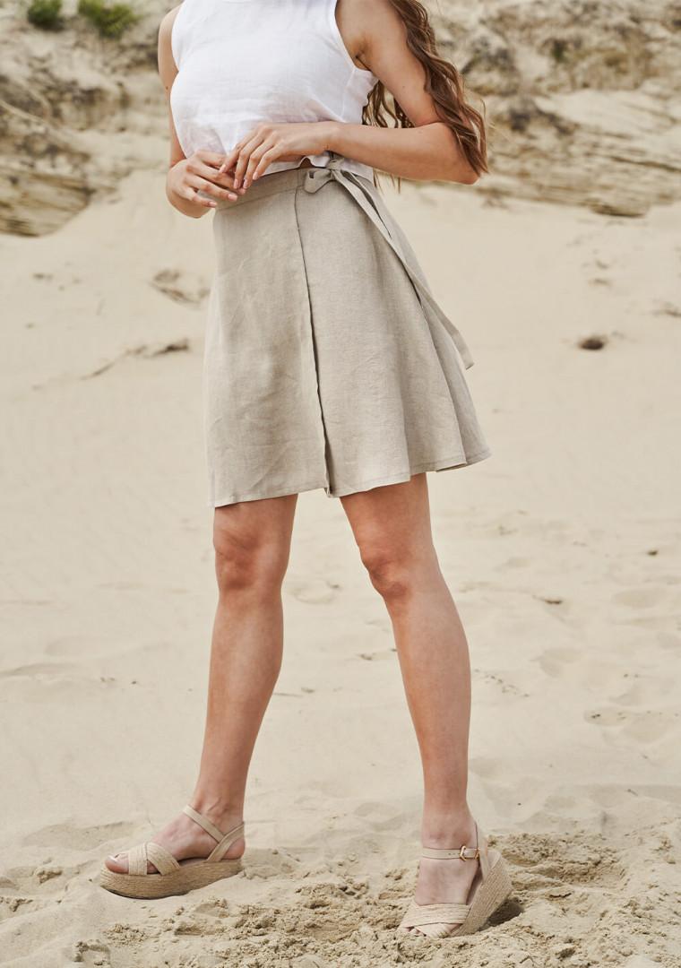 Wrap linen mini skirt Candice 5