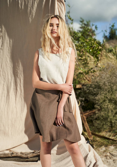 Wrap linen mini skirt Candice