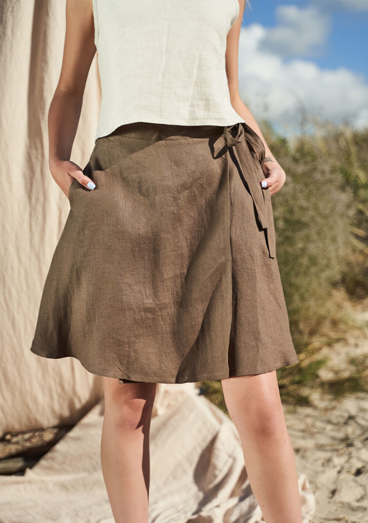 Wrap linen mini skirt Candice 2