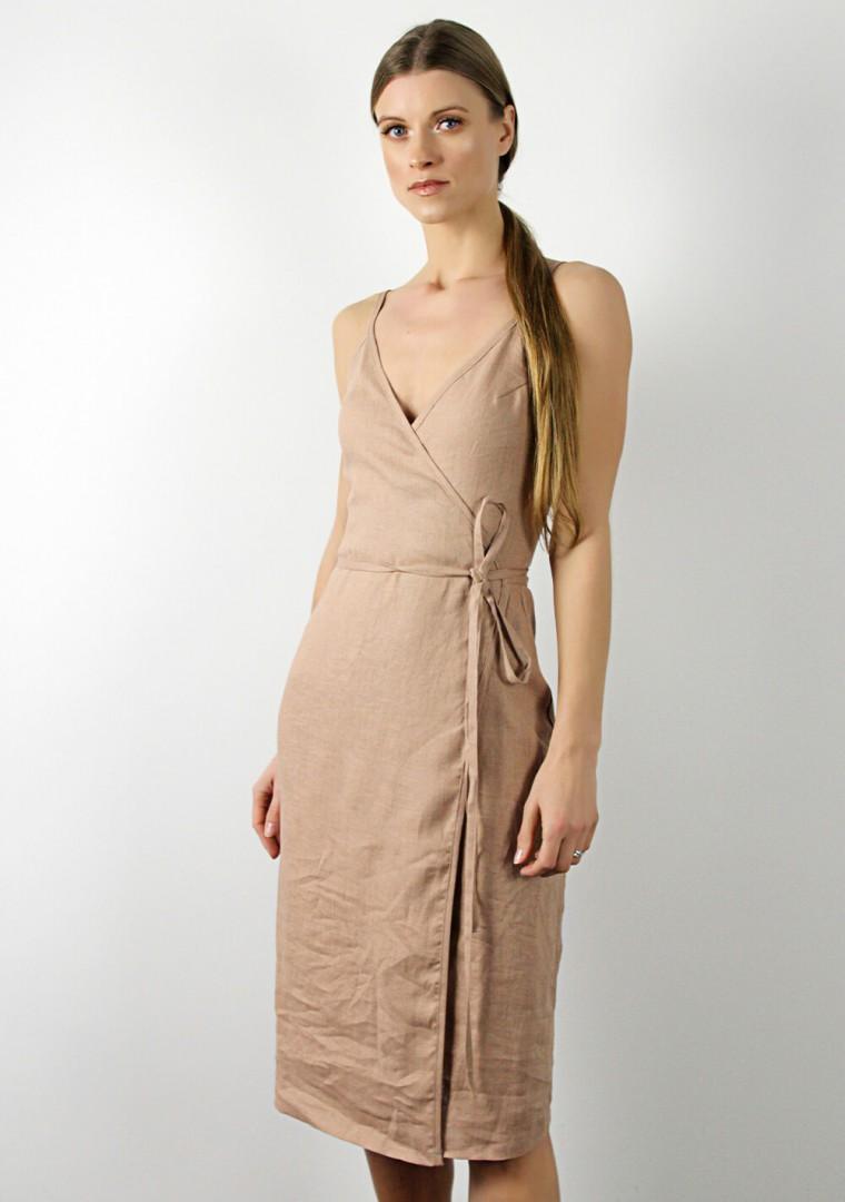 Linen wrap dress with spaghetti straps Eden 1