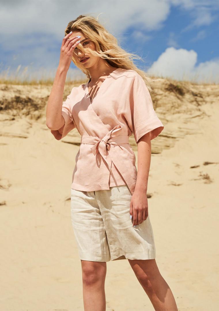 Short sleeve linen wrap top Denise 2