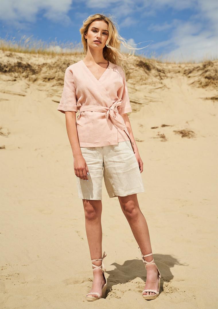Short sleeve linen wrap top Denise 3