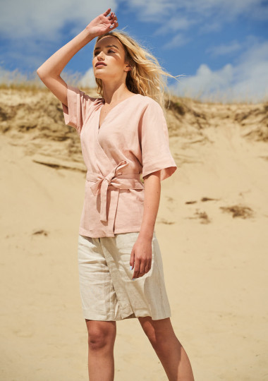 Short sleeve linen wrap top Denise