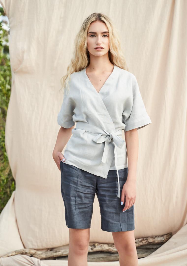 Short sleeve linen wrap top Denise 4