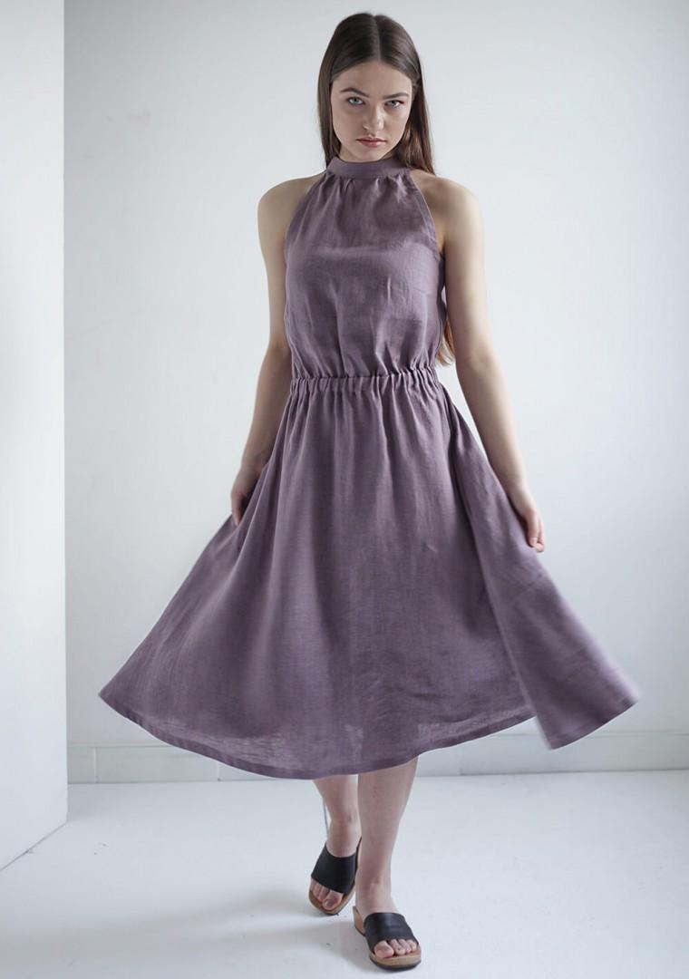 Linen high neck dress Estelle 5