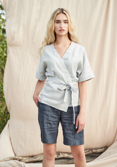 Linen wrap top Denise