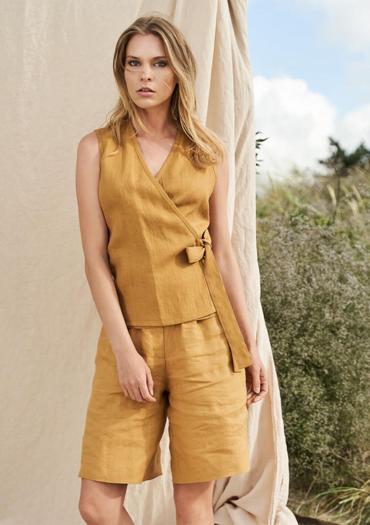 Sleeveless linen wrap top Lydia 9
