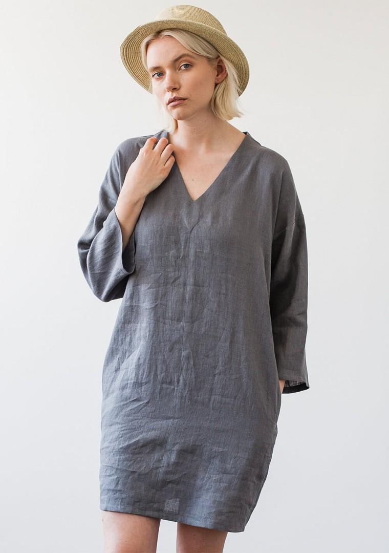 Linen v neck tunic dress Frances 3