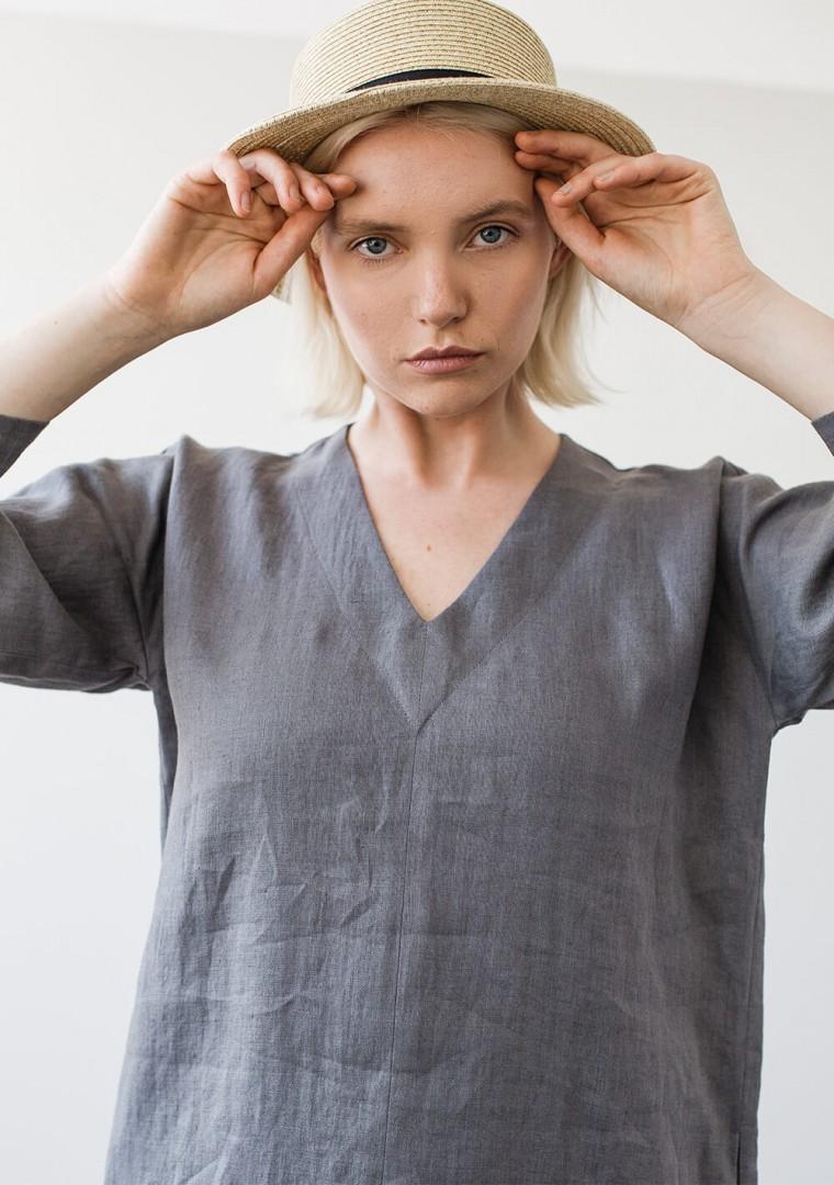 Linen v neck tunic dress Frances 4