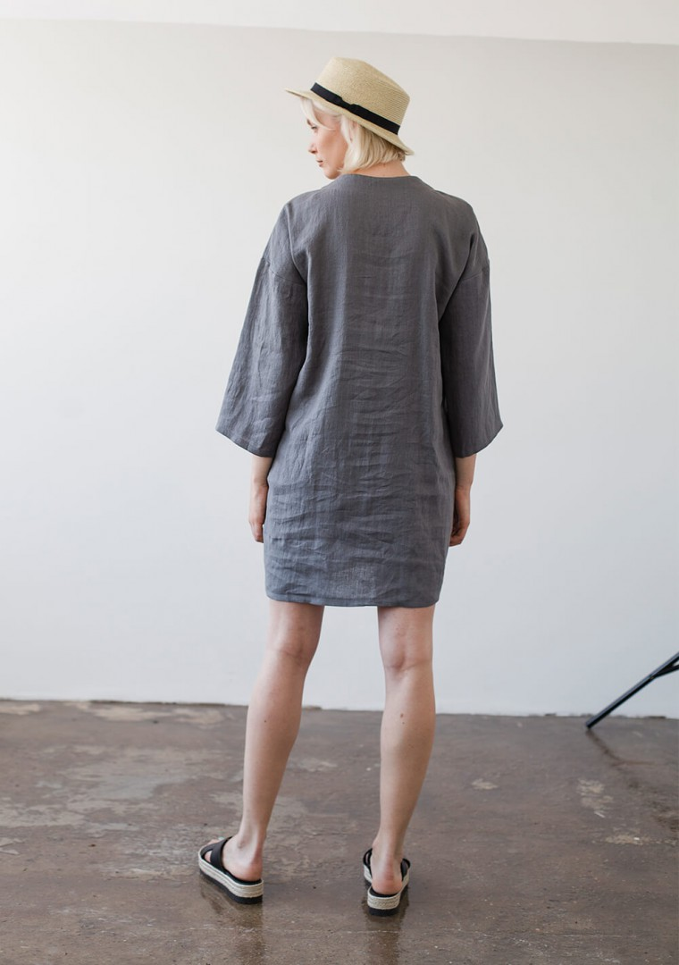Linen v neck tunic dress Frances 8