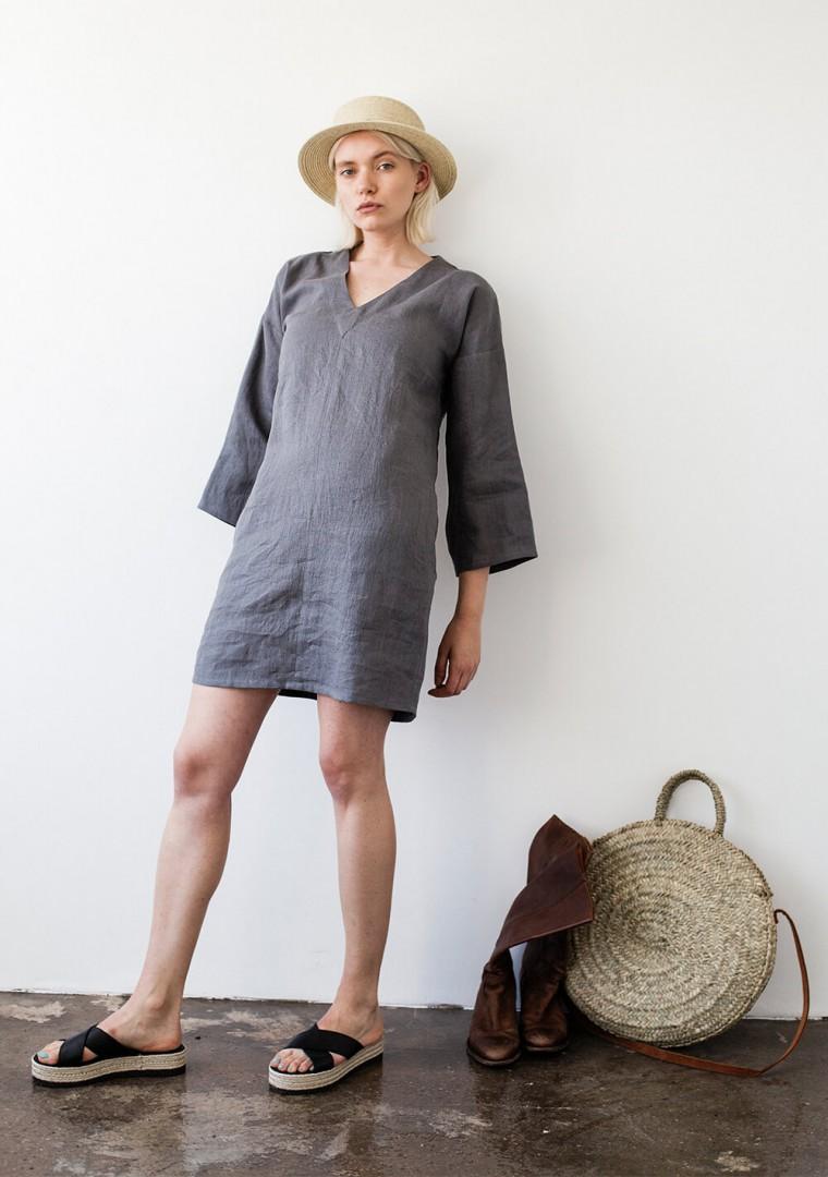 Linen v neck tunic dress Frances 1