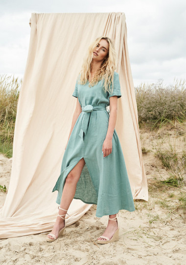 Linen V neck maxi dress with front split Vivien