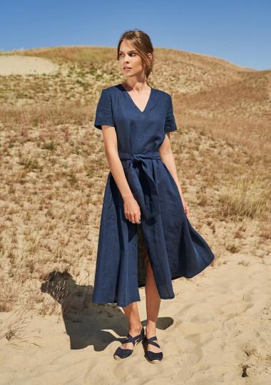 Linen midi dress with front split Vivien
