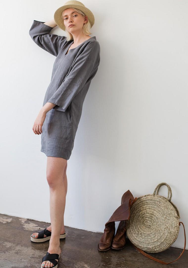 Linen V neck tunic dress Frances 5