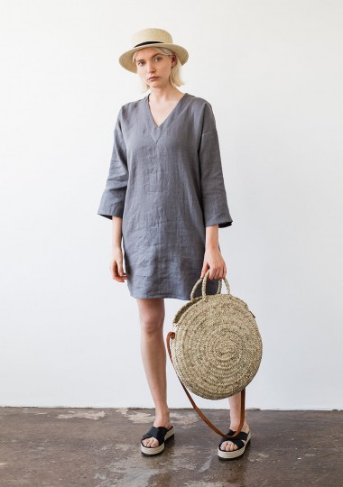 Linen v neck tunic dress Frances