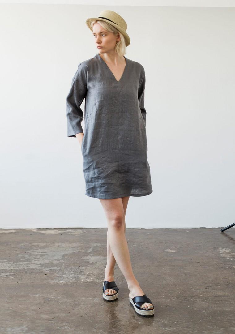 Linen v neck tunic dress Frances 6