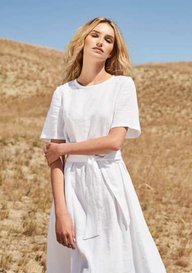Linen short sleeve dress Paloma