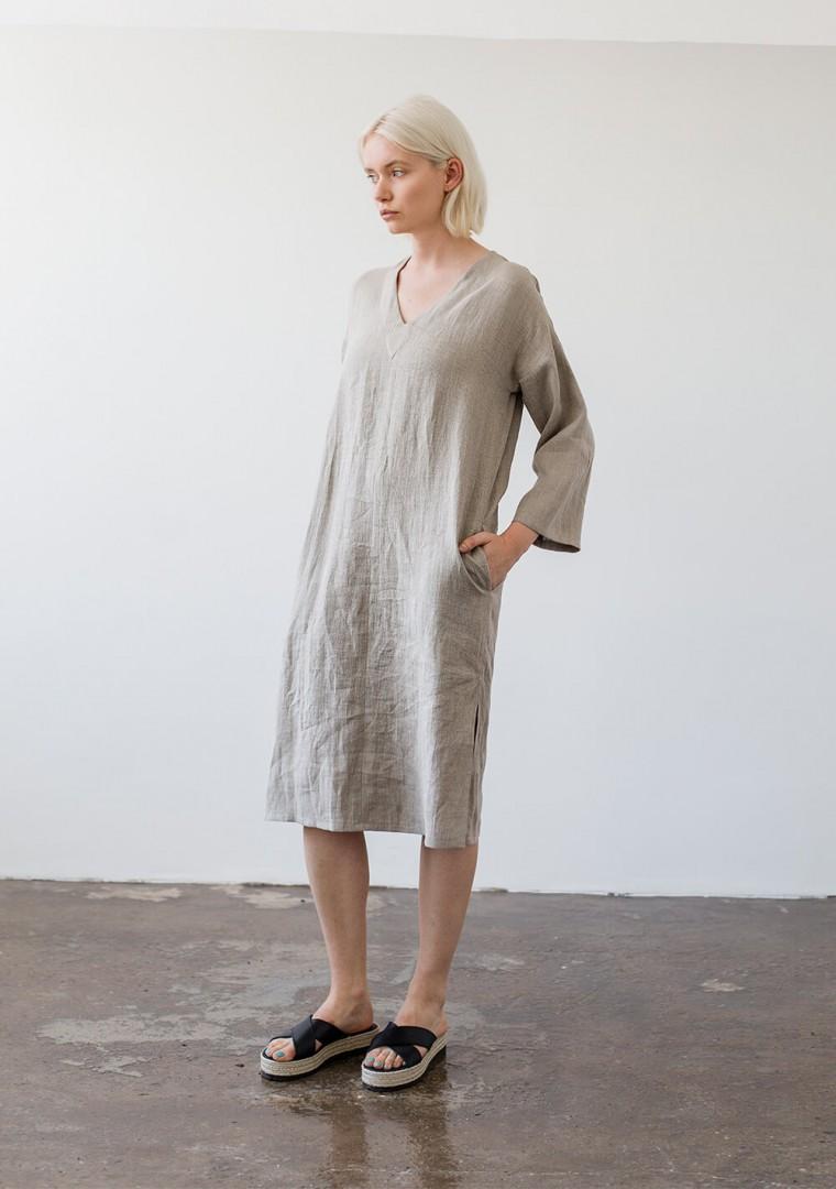Linen tunic dress Georgia in natural 1