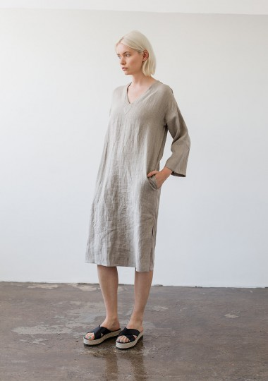 Linen tunic dress Georgia in natural