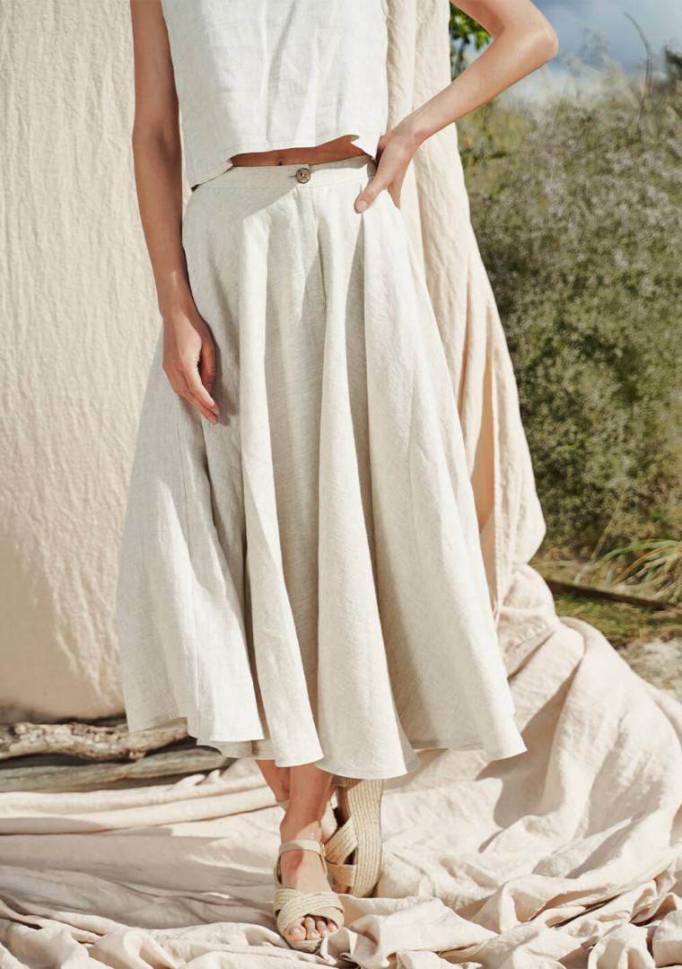 Linen circle skirt Wavy 1