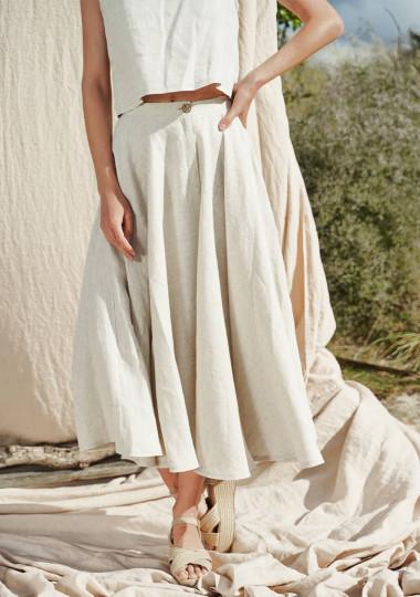 Linen circle skirt Wavy