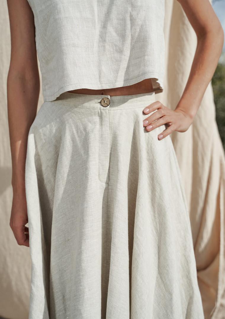 Linen circle skirt Wavy 3