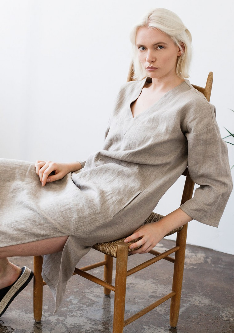 Linen tunic dress Georgia in natural 2