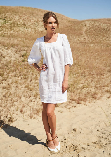 Linen square neck dress Esther