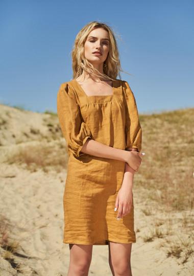 Linen square neck dress Esther